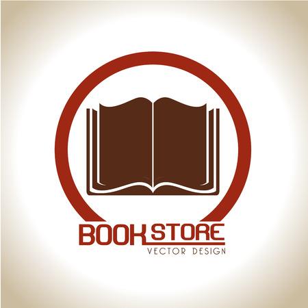 diccionarios: tienda de libros sobre fondo beige ilustraci�n vectorial