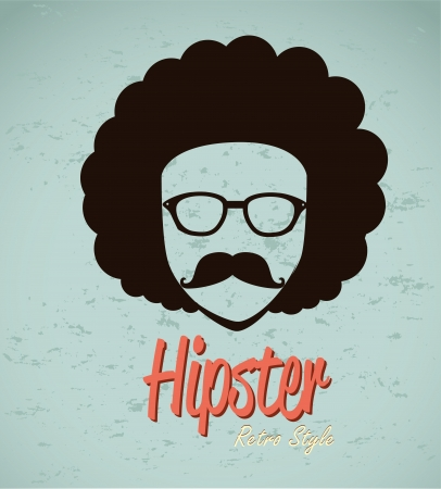 afro hair: hipster design over blue background vector  illustration