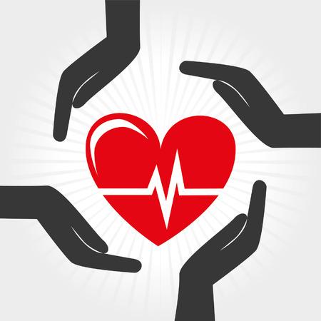 灰色の背景のベクトル図で健康管理