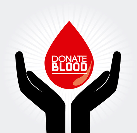 donate: donate blood over  gray background vector illustration