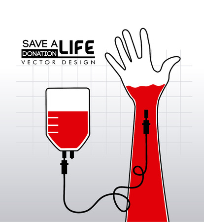 transfusion: donate blood over gray background vector illustration Illustration