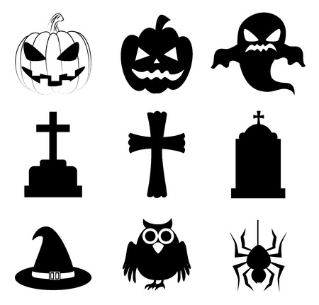 october 31: halloween icons over white background vector illustration
