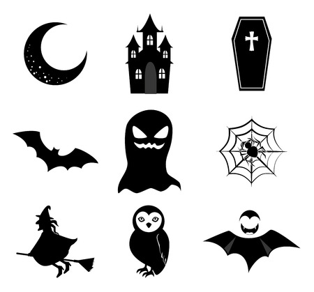 halloween icons over white background vector illustration