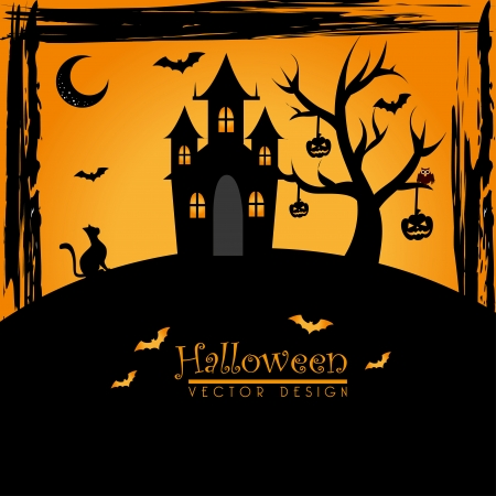 halloween icons over orange background vector illustration Vector