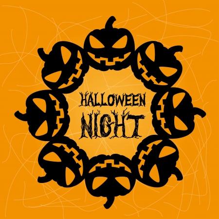 halloween icons over orange background vector illustration Illustration