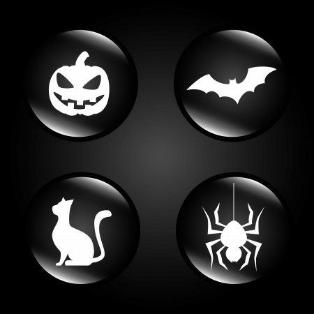 halloween icons over black background vector illustration Vector