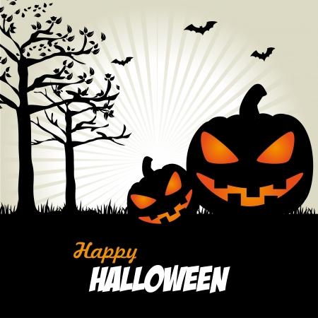 hallowen: halloween icons over sky background vector illustration