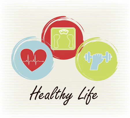 healthy life over lineal background vector illustration Иллюстрация