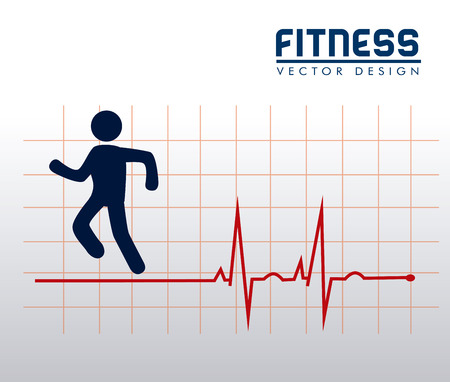 fitness label over gray background vector illustration  Vector