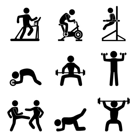user icon: fitness icons over white background vector illustration  Illustration