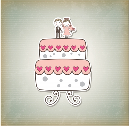 cute cake just married cartoon over pattern background. vector  Vector