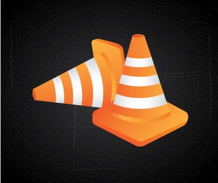 traffic cones over black background, vector illustration