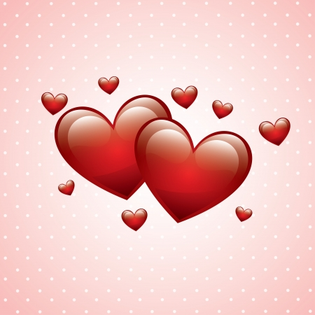 love hearts over dotted background vector illustration