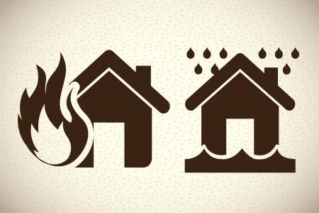 house flood: insurance icons over pattern background vector illustration  Illustration