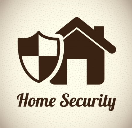 guard house: home shield over pattern background vector illustration