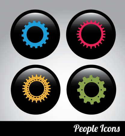 gears label over black background. Vector Illustration   Stock Vector - 22452889