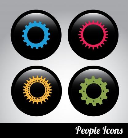 gears label over black background. Vector Illustration Stock Vector - 22452889