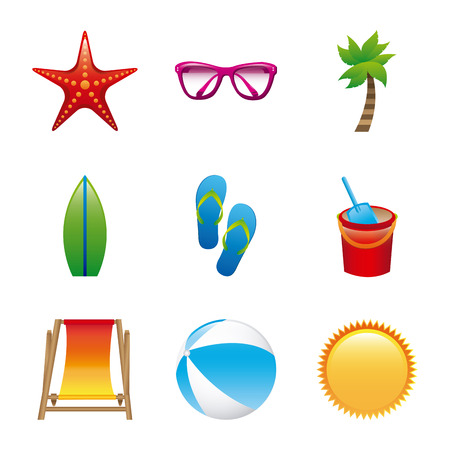 beach icons over white background vector illustration Stock Vector - 22453009