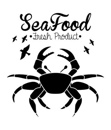diseño de la comida de mar sobre fondo blanco ilustración vectorial