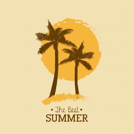 palm tree isolated: summer design over pink background vector illustration