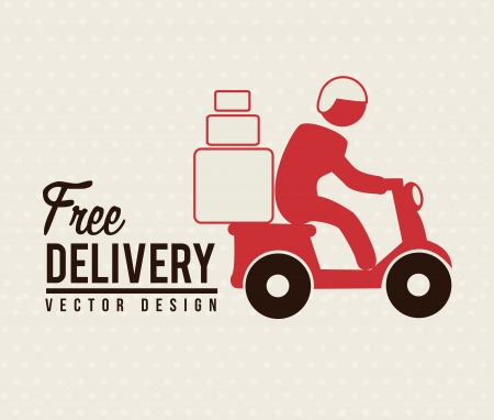 Free deliver with motorcycle messenger over beige background Vector