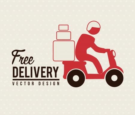 deliver: Free deliver with motorcycle messenger over beige background Illustration