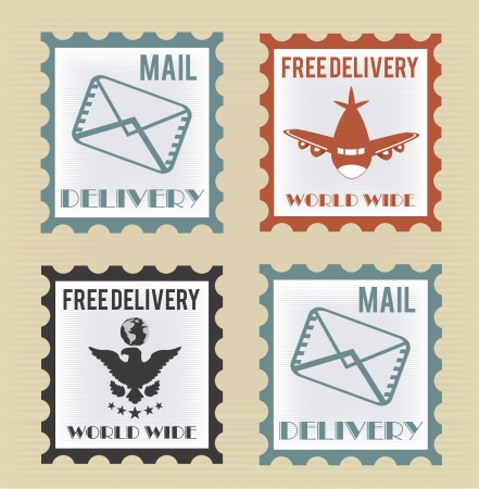 Free delivery postage stamp over beige background vector illustration Vector