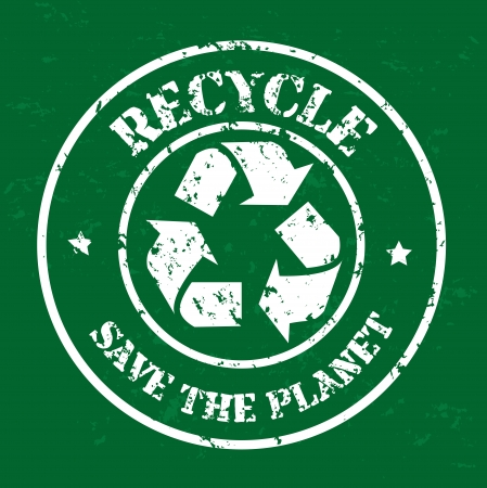 Recycle seal over green background vector illustration Vector