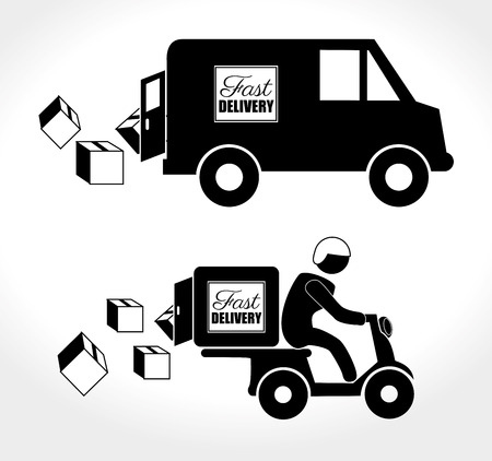 Fast  deliver with motorcycle messenger and truck over white background Vector