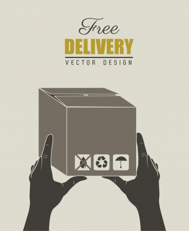 Delivery icons with box over gray background vector illustration Vector