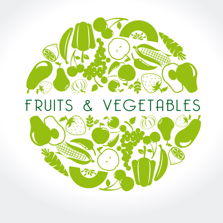 fruits and vegetables label over white background vector illustration Çizim