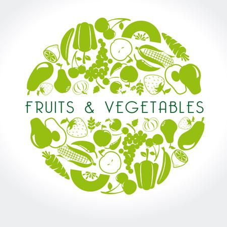 frutta e verdura di etichette su sfondo bianco, illustrazione vettoriale