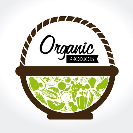 vegetable basket: organic label over white background vector illustration Illustration