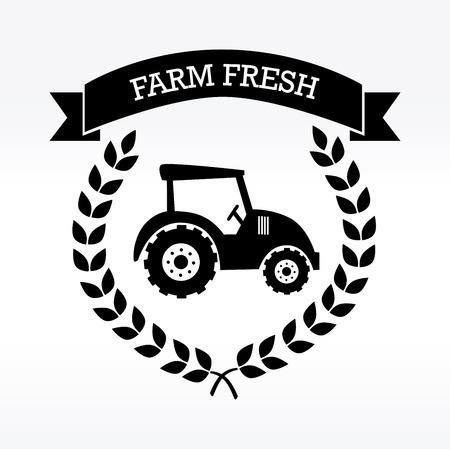 tire cover: farm fresh label over white background vector illustration