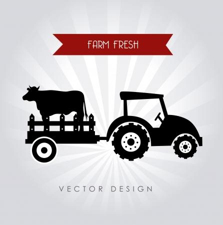 farm fresh label over gray background vector illustration Vector