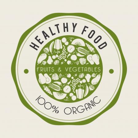 healthy food  label over beige background vector illustration Vector
