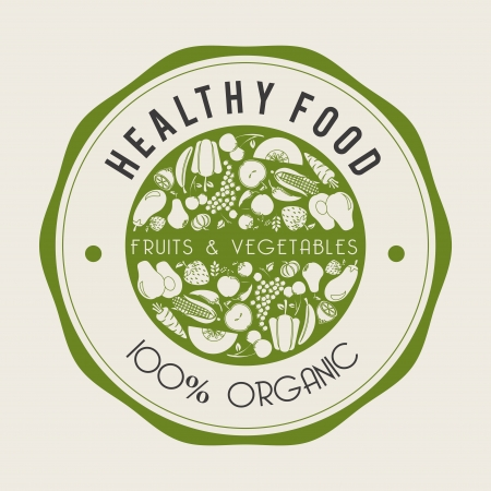agriculture icon: healthy food  label over beige background vector illustration Illustration