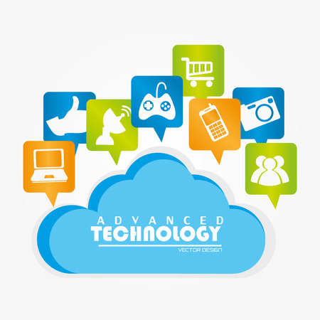 advanced technology: advanced technology icons over white background vector illustration