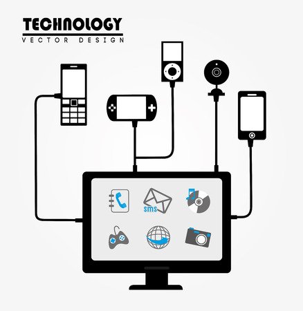 advanced technology: advanced technology icons over gray background vector illustration