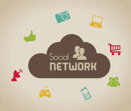 social network icons over beige background vector illustration   Vector