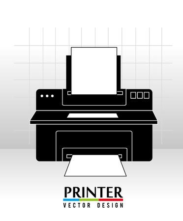printer design over white background vector illustration Vector
