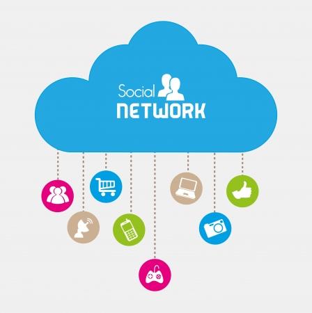social network icons over beige background vector illustration   向量圖像