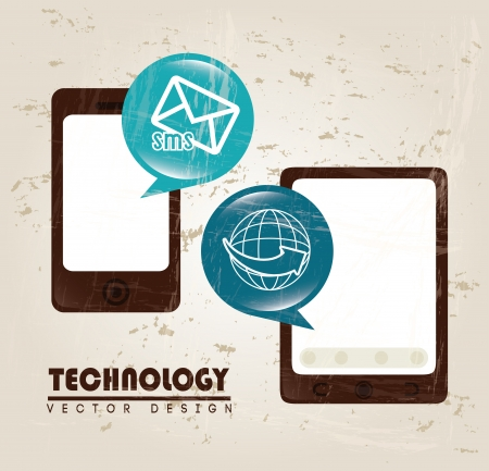advanced technology: advanced technology icons over beige background vector illustration