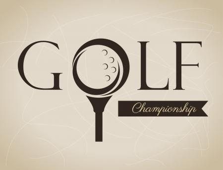 ベージュ色の背景ベクトル イラストのゴルフのデザイン  イラスト・ベクター素材