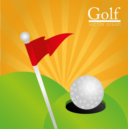 golf design over orange background vector illustration
