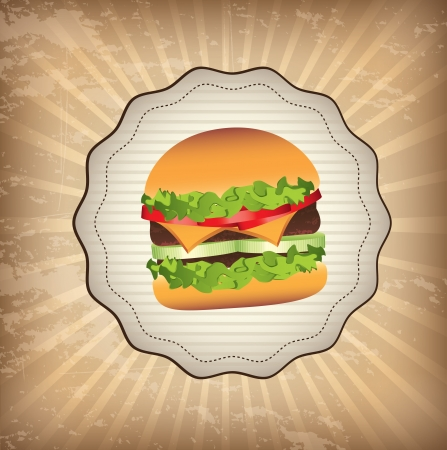 label burger over grunge background vector illustration Vector