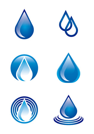 the drop: natural water over white background vector illustration
