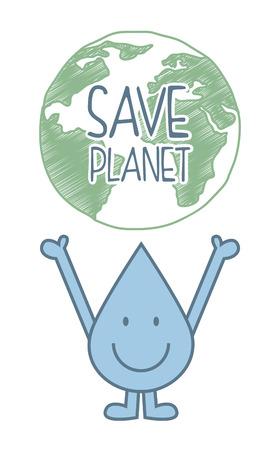 ahorrar agua: natural del agua sobre el fondo blanco ilustraci�n vectorial