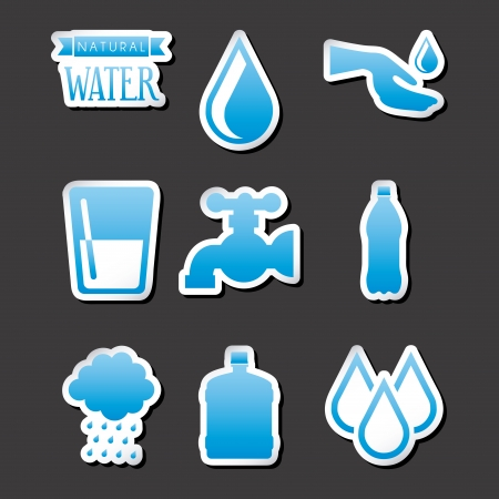 natural water over black background vector illustration Vector