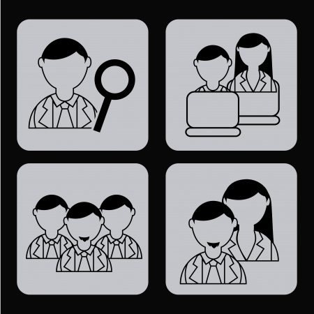 business people over black background vector illustration Vector